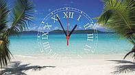 """Часы настенные стеклянные """"Пальмы на пляже"""""""