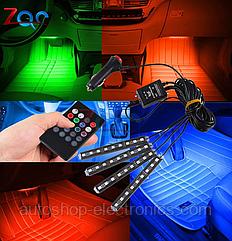 Подсветка светодиодная RGB 4х9 + ЦВЕТОМУЗЫКА + пульт управления (8 цветов / 8 режимов)