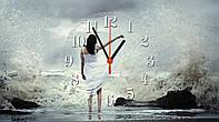 """Часы настенные стеклянные """"Девушка и море"""", фото 1"""
