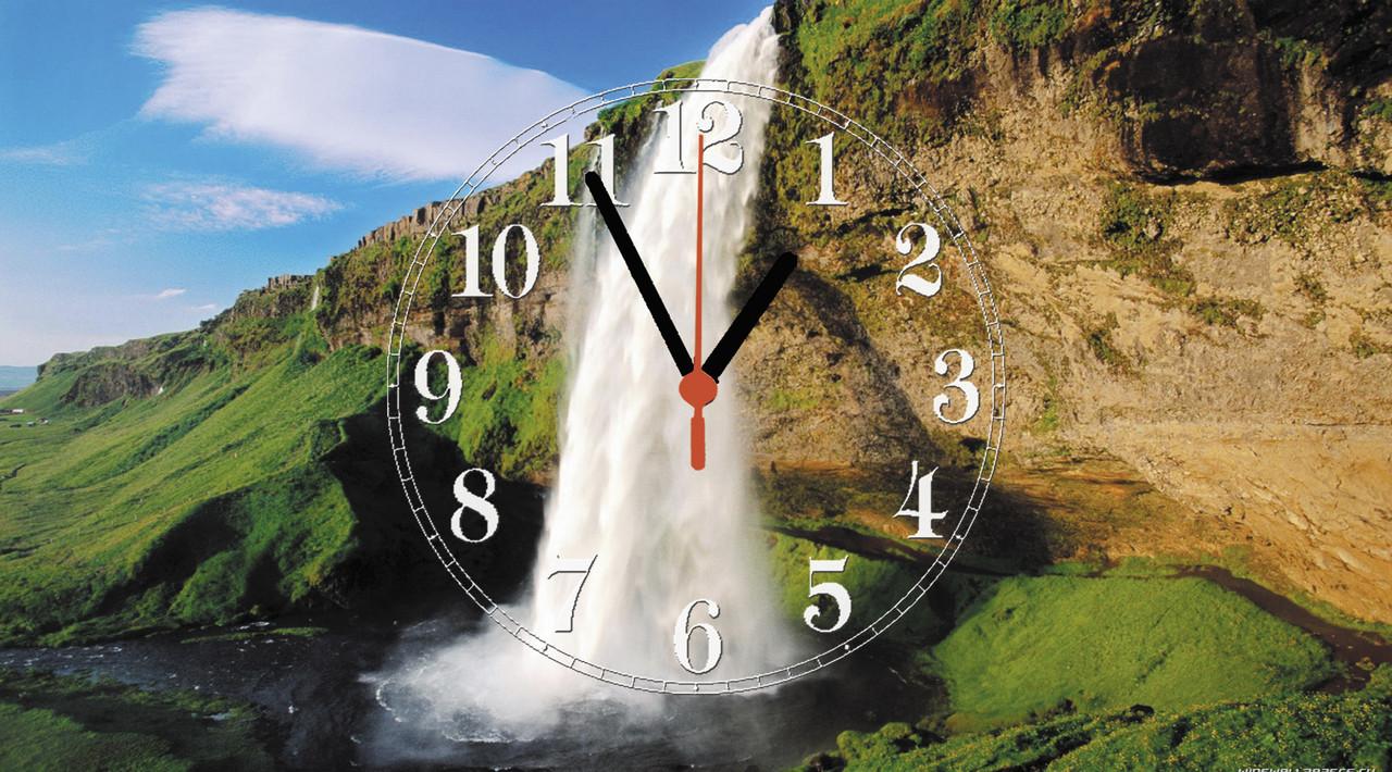 """Годинники настінні скляні """"Водоспад в Ісландії"""""""