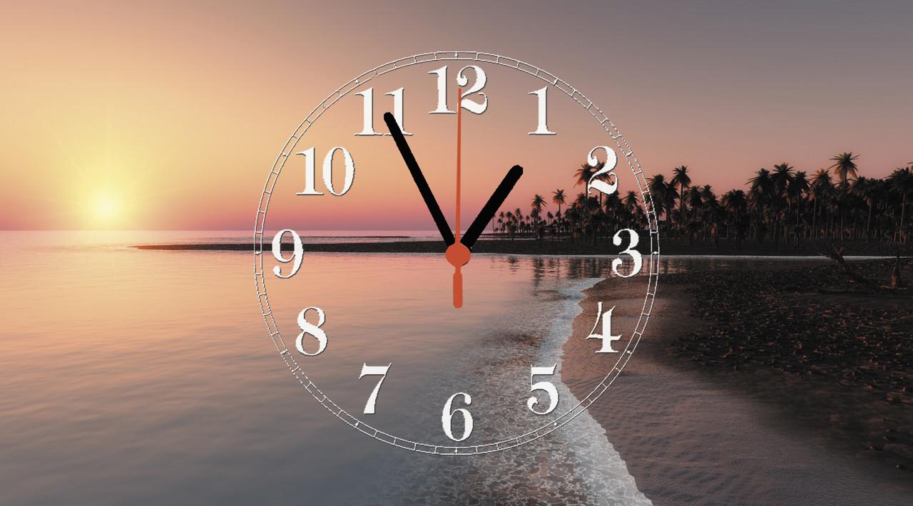 """Часы настенные стеклянные """"Закат в тропиках"""""""
