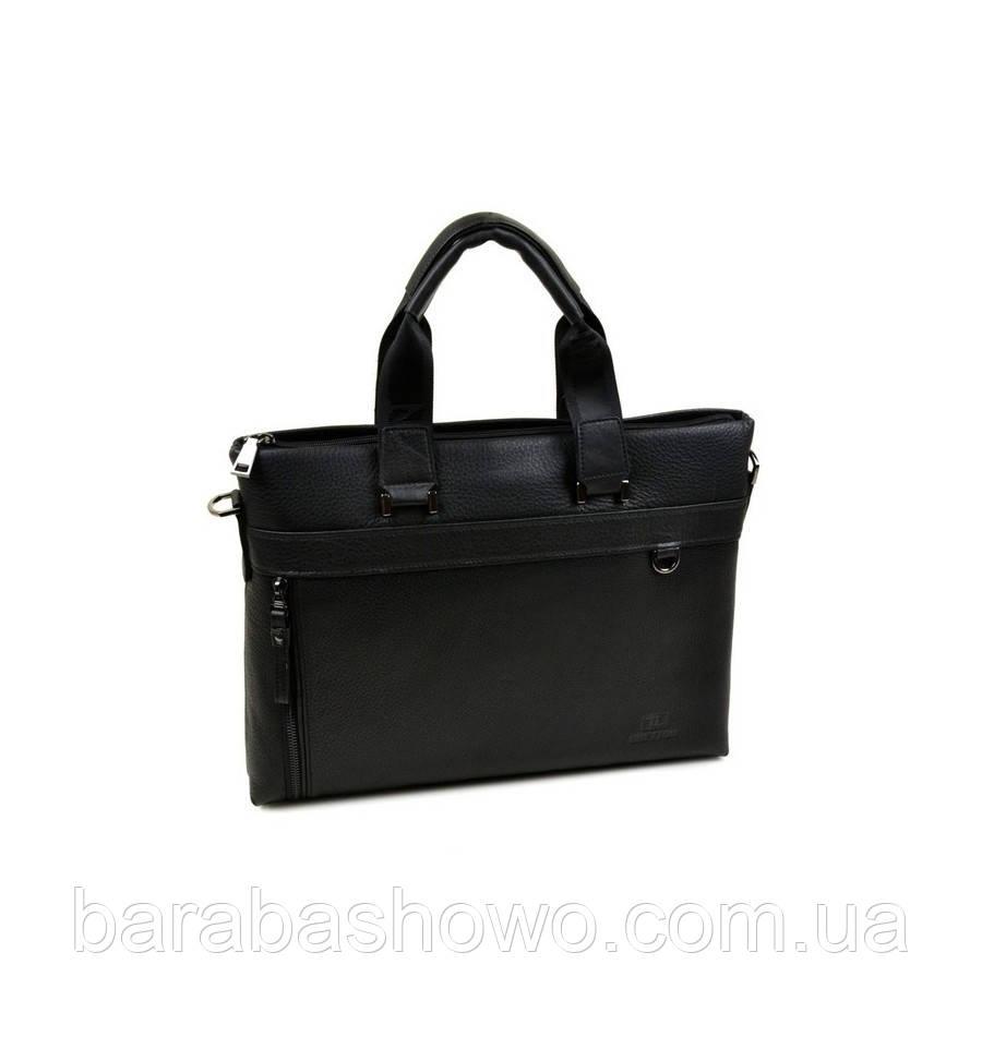 Умка Мужская Портфель кожа Bretton 13703-4 black, сумка для документов, сумка практичная, качественная