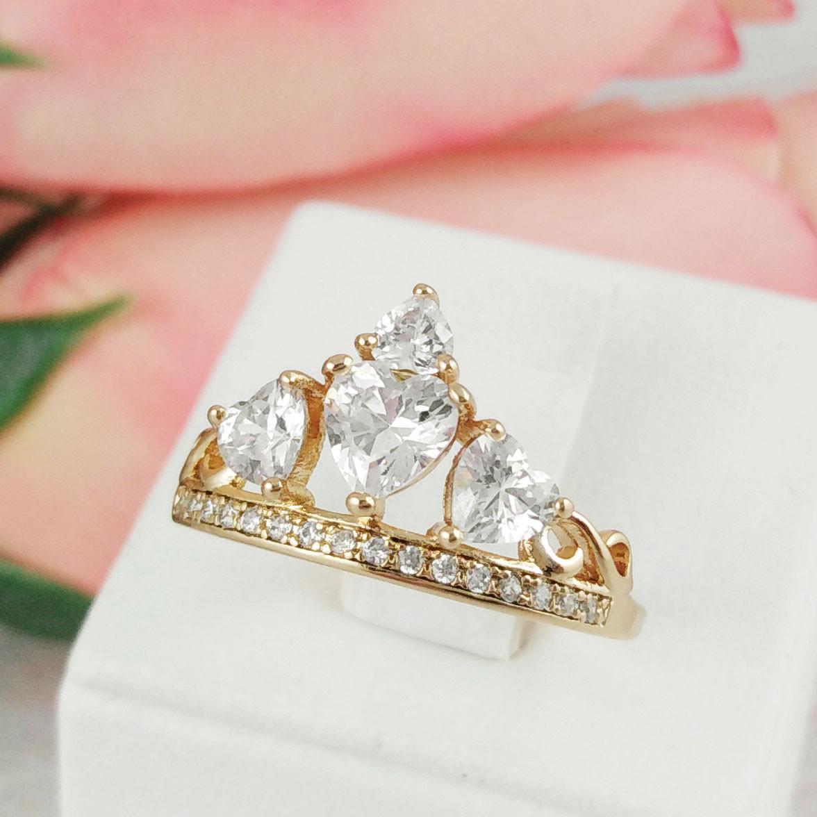 "Кольцо Xuping Jewelry размер 19,5 ""Корона"" медицинское золото, позолота 18К. А/В 3140"
