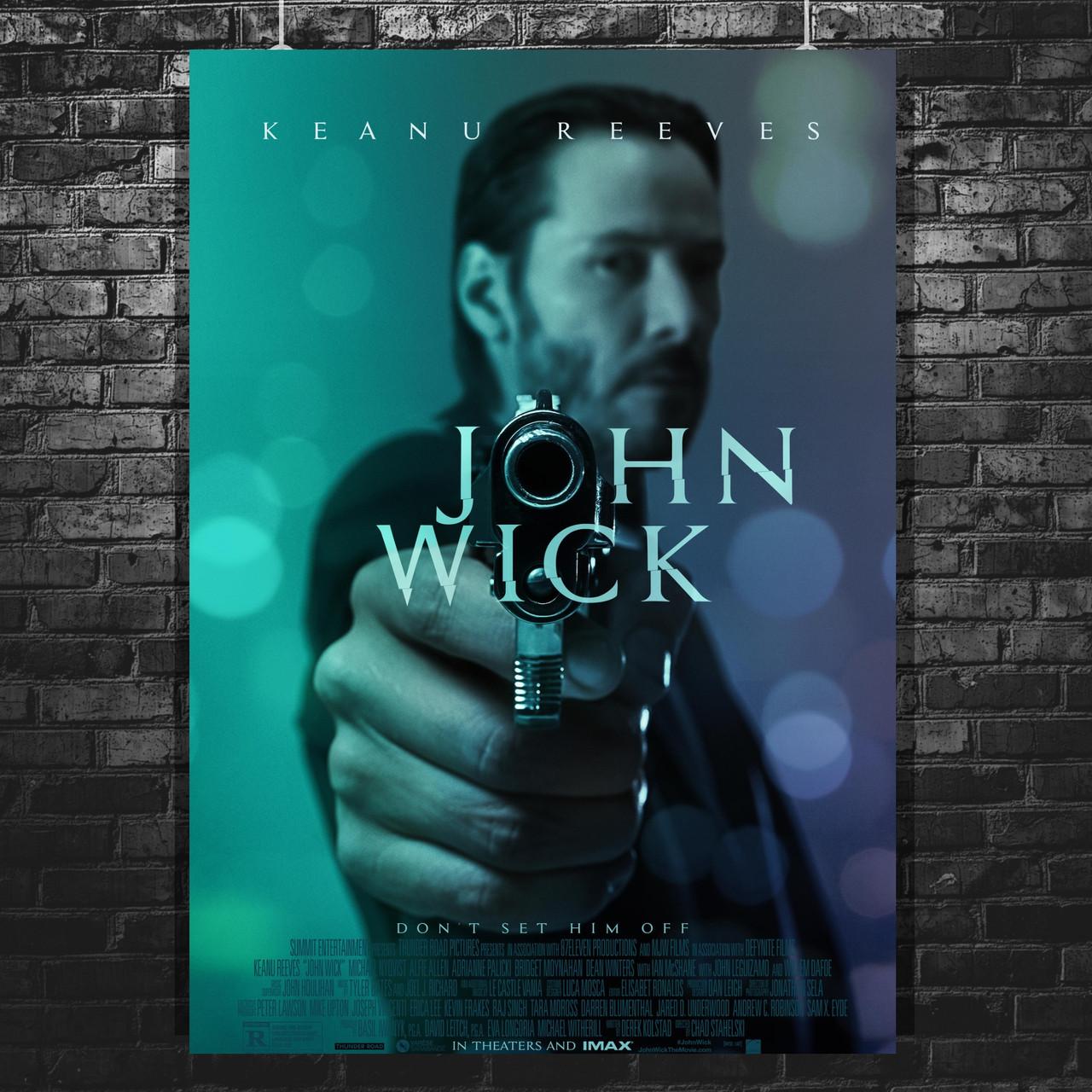 Постер John Wick, Джон Уик, Киану Ривз, пистолет крупным планом. Размер 60x43см (A2). Глянцевая бумага