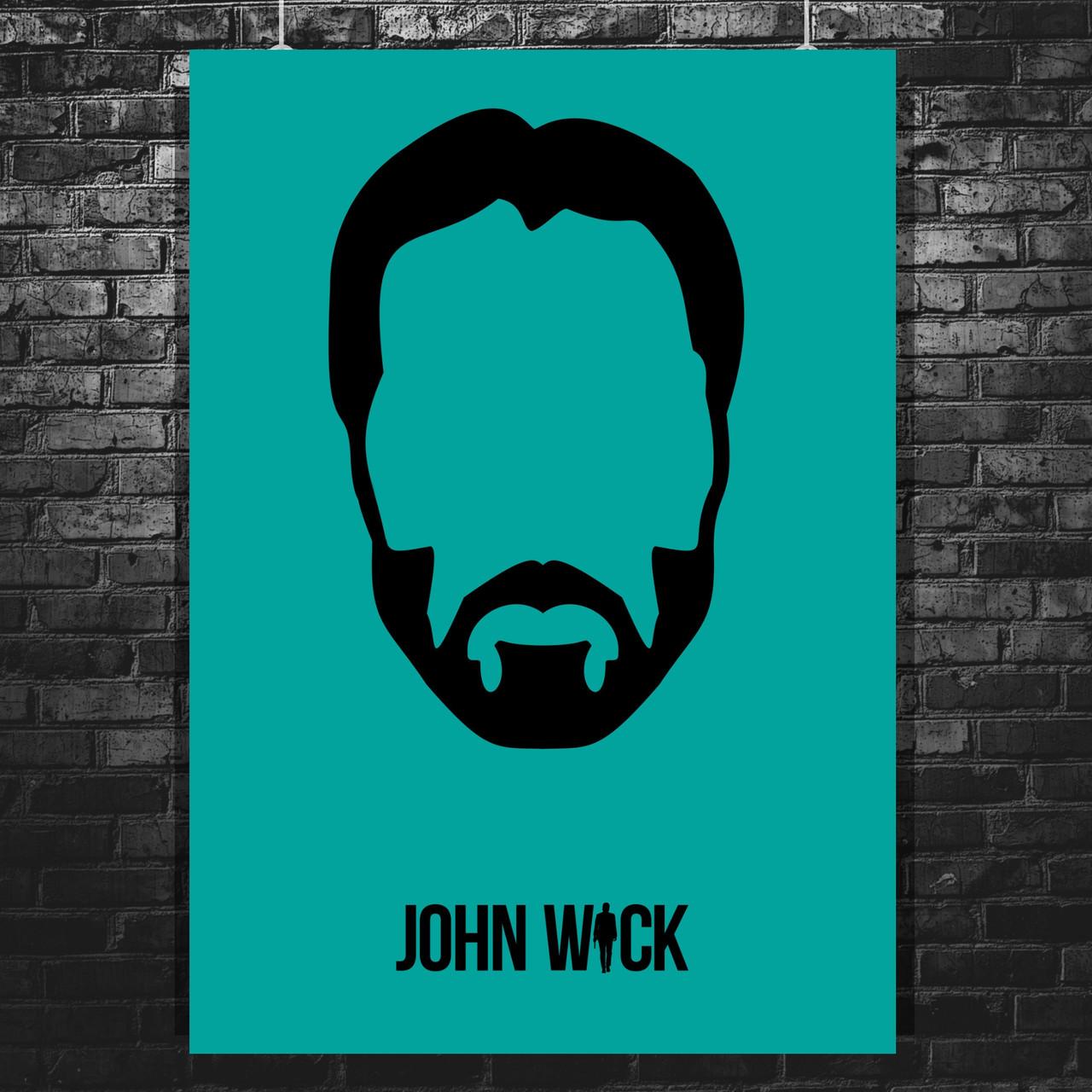 Постер John Wick, Киану Ривз, Джон Уик (минималистичный постер). Размер 60x43см (A2). Глянцевая бумага