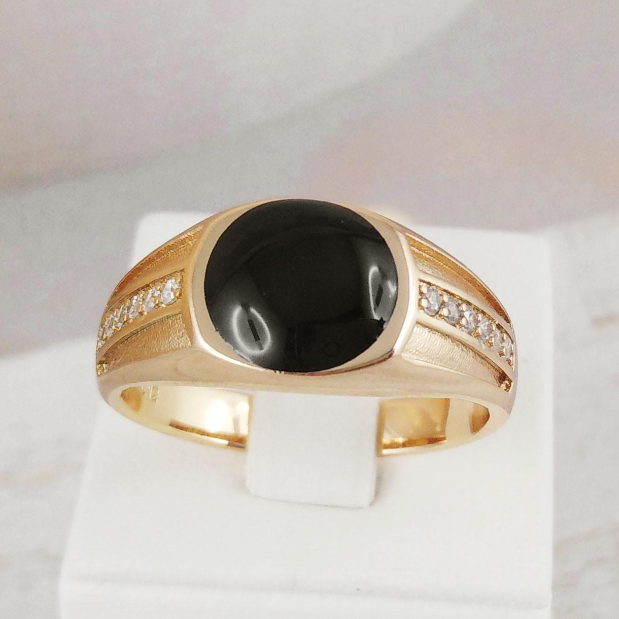 Печатка Xuping Jewelry размер 23 с черной круглой вставкой медицинское золото позолота 18К А/В 2-0001