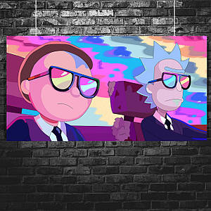"Постер ""Rick and Morty, Рик Санчес и Морти Смит, клип Run The Jewels"". Размер 60x30см (A2). Глянцевая бумага"