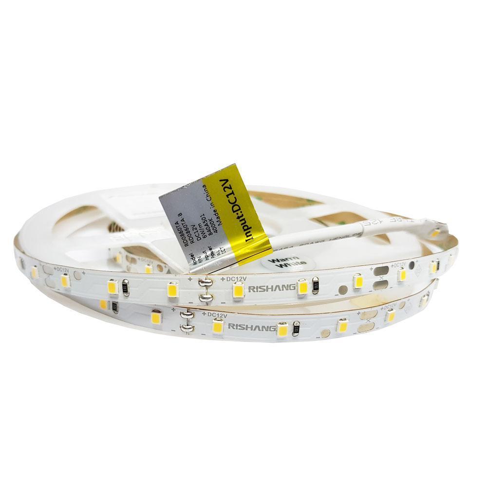 Світлодіодна стрічка  12вольт 6Вт 3000К 505лм RD0860TA-B 2835-60-IP20-WW-8-12 тепло біла CRI80 Рішанг 11841