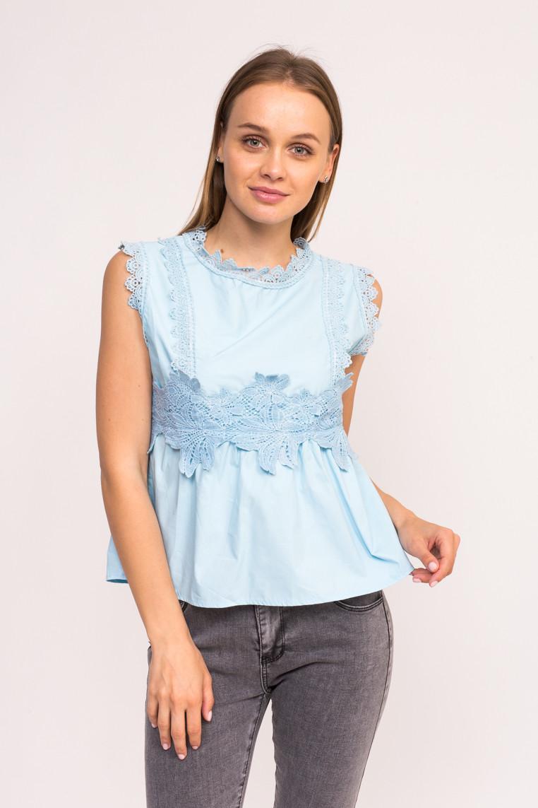 Блузка с гипюровыми вставками LUREX - голубой цвет, L (есть размеры)