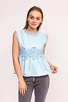 Блузка с гипюровыми вставками LUREX - голубой цвет, L (есть размеры), фото 1