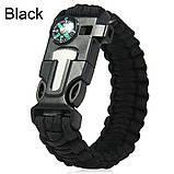 Браслет Paracord  Flint-Fire + compass black, фото 2