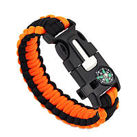 Браслет Paracord Flint-Fire + compass black-orange