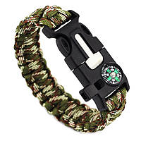 Браслет Paracord Flint-Fire + compass army green