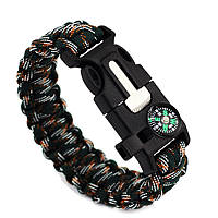Браслет Paracord Flint-Fire + compass green wood