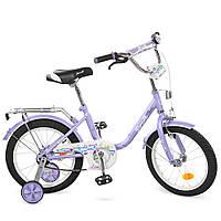 L1683, Велосипед детский PROF1 16д. L1683 (1шт) Flower, фиолетовый,звонок,доп.колеса