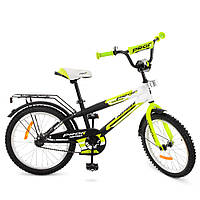 G2054, Велосипед детский PROF1 20д. G2054 (1шт) Inspirer,черно-бел-салат(мат),звонок,подножка