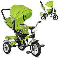 M 3199-4HA, Велосипед M 3199-4HA (1шт)три кол.рез (12/10),колясочн.,поворот,муз,свет,торм,сумка,зеленый