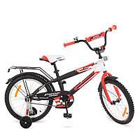 G1855, Велосипед детский PROF1 18д. G1855 (1шт) Inspirer,черно-бел-красн(мат),звонок,доп.кол