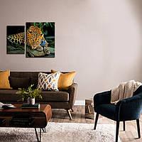 """Модульная картина из двух частей - диптих """"Леопард"""""""