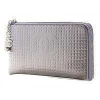 Лаковый серый кошелек клатч Chanel