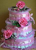 Торт из памперсов для девочки (розовый)