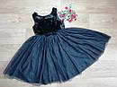 Нарядное плате с велюровым верхом и пышной блестящей фатиновой юбкой H&M (Англия) (Размер 9-10Т), фото 2