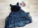 Нарядное плате с велюровым верхом и пышной блестящей фатиновой юбкой H&M (Англия) (Размер 9-10Т), фото 4