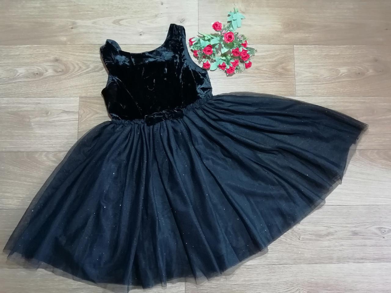 Нарядное плате с велюровым верхом и пышной блестящей фатиновой юбкой H&M (Англия) (Размер 9-10Т)