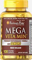 Витамины для мужчин Puritan's Pride Mega Vita Min for Senior 100 каплет