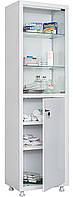 Одностворчатый металлический медицинский шкаф для хранения медикаментов, инструментов, больничных документов