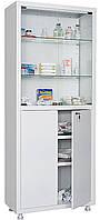 Двухстворчатый металлический медицинский шкаф для хранения медикаментов, инструментов, больничных документов