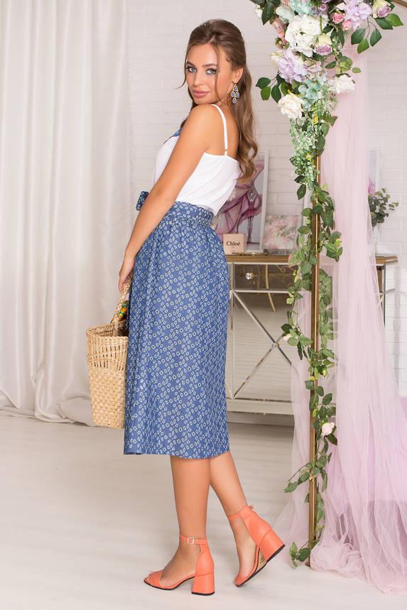 Летняя юбка миди с перфорацией синяя, фото 2