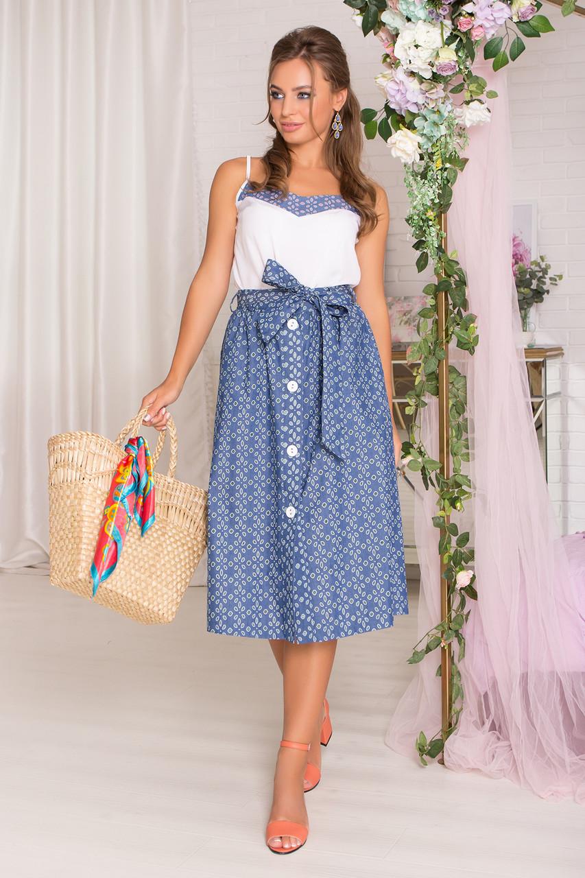 Летняя юбка миди с перфорацией синяя