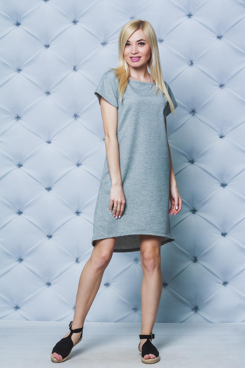 Платье с коротким рукавом светло-серое