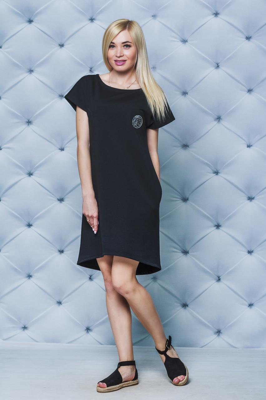 Платье с коротким рукавом черное