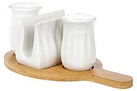 Набор 3 -х предметов для специй,перец-соль и салфетница на бамбуковой подставке