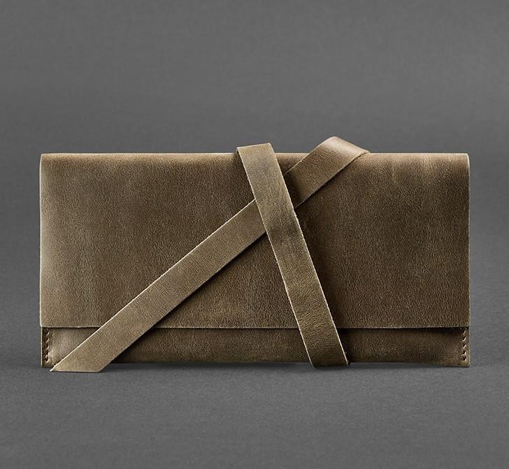 Кошелек кожаный для документов, дорожный кейс коричневый