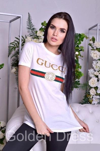 Женская футболка в стиле Gucci Белая 46 размер норма