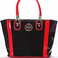 Женская сумка Tory Burch в лаке черная с красным