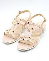 Натуральные кожаные женские босоножки на каблуке - женская летняя обувь, сандали женские розовые.