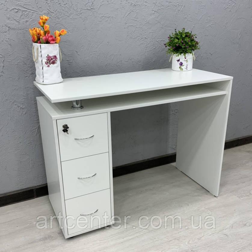 Маникюрный стол с полкой и ящиками White
