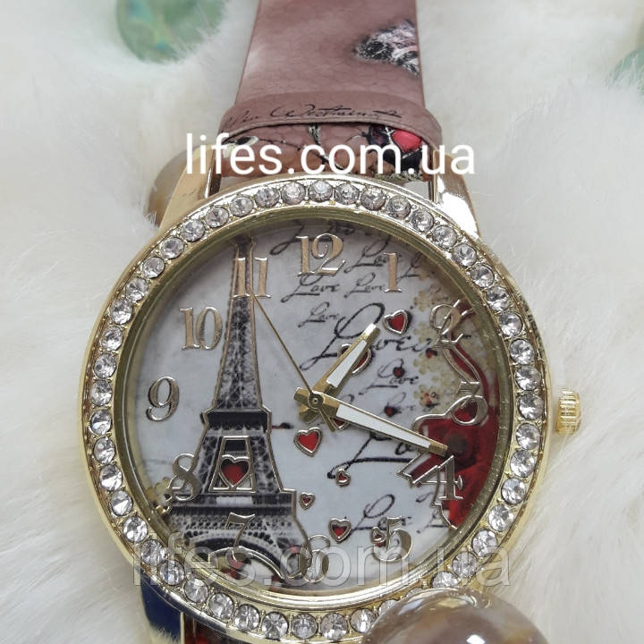 Женские часы: SUSENSTONE   Белый ремешок с цветочным принтом