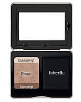 Пудра для лица #FinalTouch, 3-в-1 пудра, бронзер, хайлайтер, Faberlic Beauty Box, Фаберлик, 6140