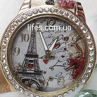 Женские часы: SUSENSTONE  Красный ремешок с цветочным принтом