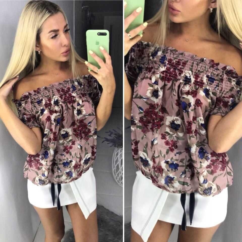 """Модная женская блуза, на мягкой резиночке ткань """"Шифон"""" 42 размер"""