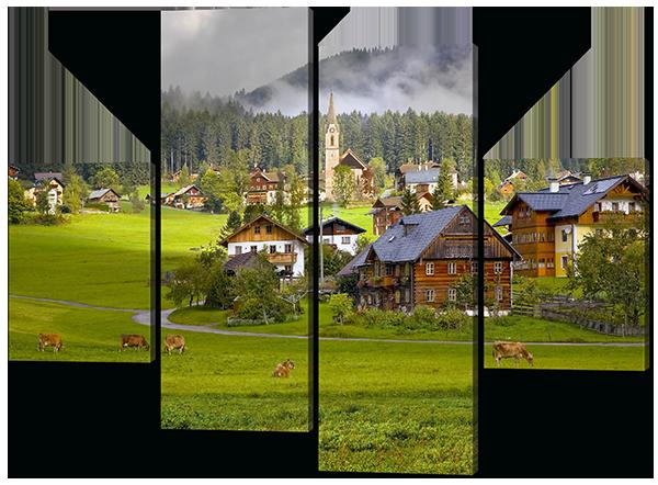 Модульная картина Interno Искусственный холст Деревня у леса 126х93см (Z458М)
