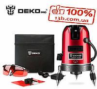 Профессиональный лазерный уровень Deko, 5 линий,6 точек+батарейки