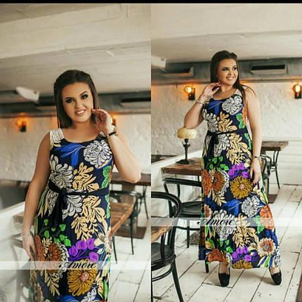 """Женские летние сарафаны с цветочным принтом ткань """"легкий штапель"""" 48 размер батал, фото 2"""