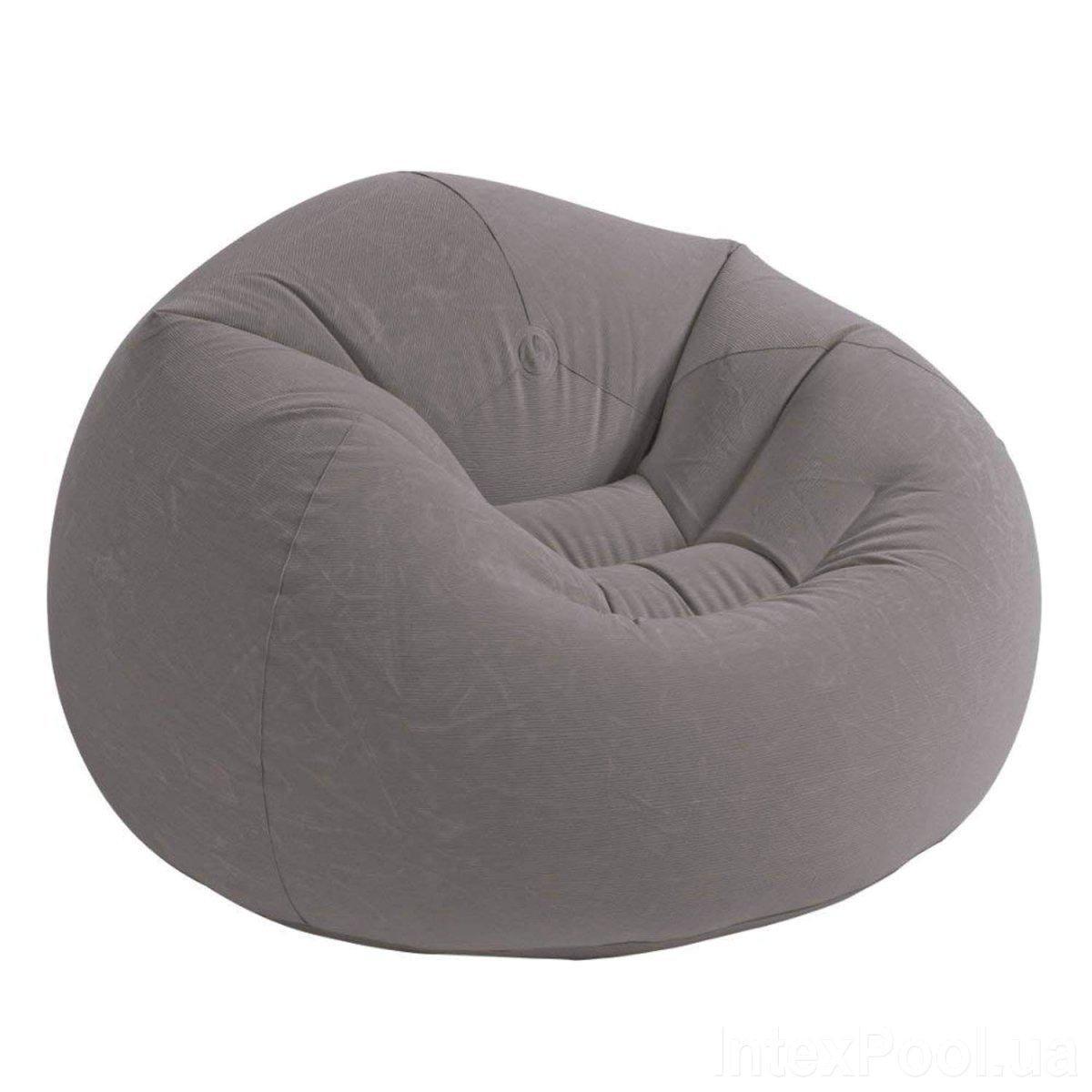 Надувное велюровое кресло-мешок Intex 68579, (107*104*69 см), серое