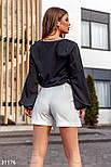 Однотонная блуза с широким рукавом черная, фото 4